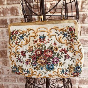 Walborg Floral Tapestry Evening Bag Clutch 1950s